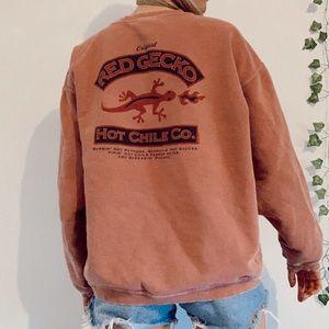 🌴Hawaii vintage pink Red Gecko sweatshirt